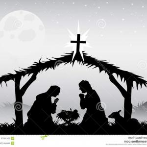 Nativity Scene Vector Art Borders: Abstract Nativity Scene With Holy Family Vector