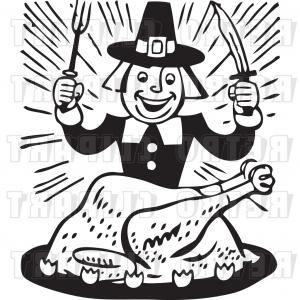 Cooked Turkey Vector Black And White: Vector Clip Art Of A Retro Cartoon Pilgrim Eating Whole Cooked Turkey By Bestvector