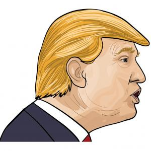 Trump 2016 Vector: Vector Clip Art Of Retro Cartoon Sketched Caricatures Of Hillary Clinton And Donald Trump As Wrestlers Or Luchadors With Text By Patrimonio