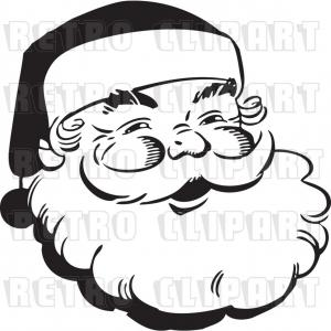 Mahi Mahi Outline Vector Images: Vector Clip Art Of Retro Santa Claus Face Outline By Bestvector