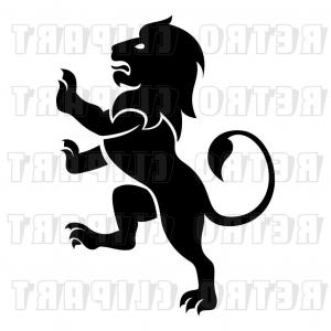 Standing Lions Crest Vector: Vector Clip Art Of Silhouetted Rampant Lion By Atstockillustration