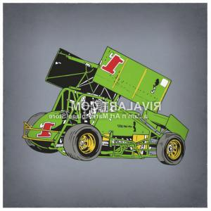 Sprint Car Vector: Vector Clipart Of A Vector Sprint Car Racing Race Graphic In Color