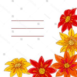 Orange Flowers Corner Vector: Vector Contour Color Yellow Red Orange