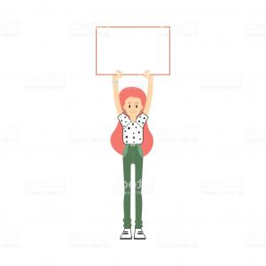 Empty Barbell Vector: Vector Flat Business Woman With Blank Placard Gm