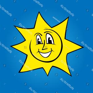 Blue Background Vector Cartoon Sun: Vector Illustration Cartoon Sun Over Blue