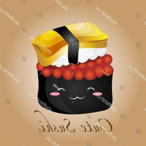Spawn Vector: Vector Illustration Cute Sushi Salmon Spawn