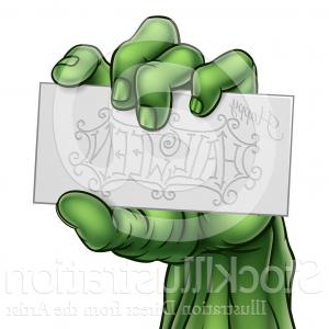 Zombie Vector Ai File: Vector Illustration Of A Green Zombie Hand Holding A Happy Halloween Card By Atstockillustration