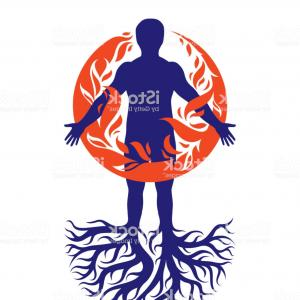 Man Holding Fire Silhouette Vectors: Vector Illustration Of Athletic Man Composed With Tree Roots Fire Person As Bunch Of Gm