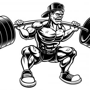 Vector Barbell Squat: Vector Illustration Of Bodybuilder Doing Squats With Barbell