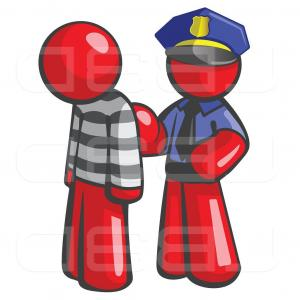 Vector Police Officer Kneeling: Vector Illustration Of Cartoon Red Guy Police Officer And Prisoner By Leo Blanchette