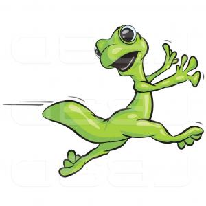 Gecko Vector: Vector Illustration Of Scared Gecko Lizard Running By Leo Blanchette