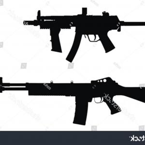 Nato Assault Rifles Vector Graphics: Vector Illustration Weapons Silhouette High Detail
