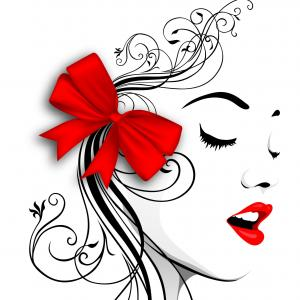 Vector Female Lips: Vector Image Woman Portrait Red Lips Red Bow Wide Wallpaper