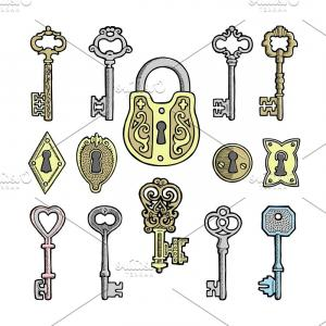 Keyholes And Key Vector Art: Vector Key Vintage Old Sketch Retro Lock Illustration Of Lock From Antique Keystone Open Door Keyhole Security Secret Victorian