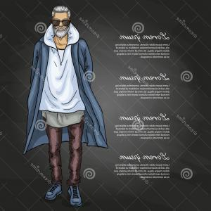 Vectorman Darkness: Vector Man Model Dressed Jeans Hoody Shirt Long Coat Dark Background Image