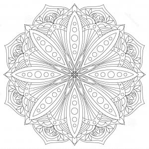 Pack 6 Vectorabs: Vector Mandala Oriental Decorative Element Ethnic Design Element Hand Drawn Mandala Monochrome Contour Mandala Coloring Vector Image