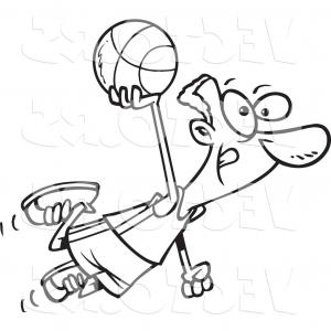 Color Basketball Outline Vector: Vector Of A Cartoon Black Basketball Player Flying Coloring Page Outline By Toonaday