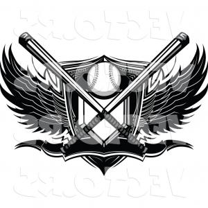 Vector Shield With Wings High: Vector Of A Crossed Bats Over Baseball Plate Shield Banner With Wings Black And White By Chromaco