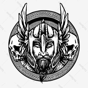 Vector Celtic Sun: Vector Of Viking Head With Nordic Or Celtic Circle Badge Suitable For Logo Or Emblem E Sport Team