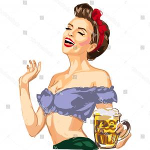 Pin Up Girls Vector Stock: Vector Pin Girl Waitress Hanging Beer