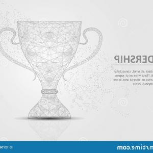 Cup Vector Poly: Vector Polygonal Art Style Winner Cup Low Poly Wireframe Mesh Scattered Particles Effect Leadership Business Concept Poster Image