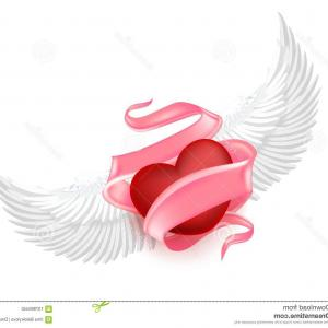 Torn Angel Wings Vector: Vector Realistic Heart Angel Wings Elegant Pink Silk Satin Ribbon Space Text Around Happy Valentines Day Symbol Image