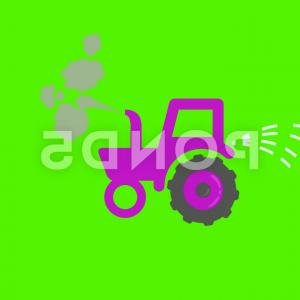 Vector Red Tractor: Vector Red Tractor Animation Hand Drawn Green Screen Loop Pu