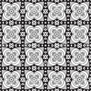 White Lace Design Vector: Vector Seamless Vintage Black And White Lace Pattern Gm