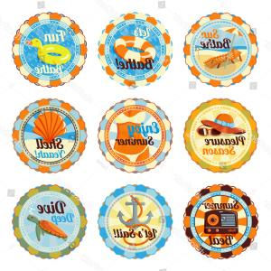 Cute Badges Vector Logo: Vector Set Cute Bright Summer Badges