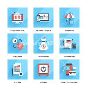 Vector Insurance: Vector Set Of Flat Banking And Finance Icons On Following Themes Insurance Blgqfpoeizrew