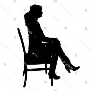 Chair Silhouette Vector: Vector Silhouette Woman Sitting On Chair