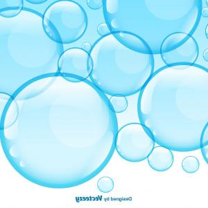 Vector Bubbles Circle: Blue Wavy Background With Bubbles Vector Clipart