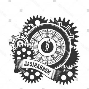 Vector Mechanical Clock Wheels: Photostock Vector Vector Steampunk Mechanical Clock And Rotating Parts In A Rectangular Shape Badge