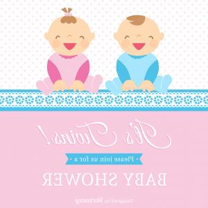 Baby Vector Illustration: Vector Twin Babies Vector Card