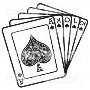 Queen Of Spades Card Vectors: Vector Western Clip Art Of A Hand Of Black Cards Showing A Jack Queen King And Ace Of Spades By Andy Nortnik