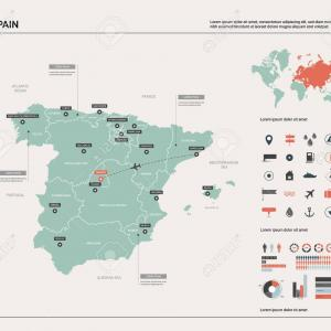 Spain Country Vectors Line: Vector World Map Gall Projection With Drop Shadow Hill Shading And Insets Illustrator Format