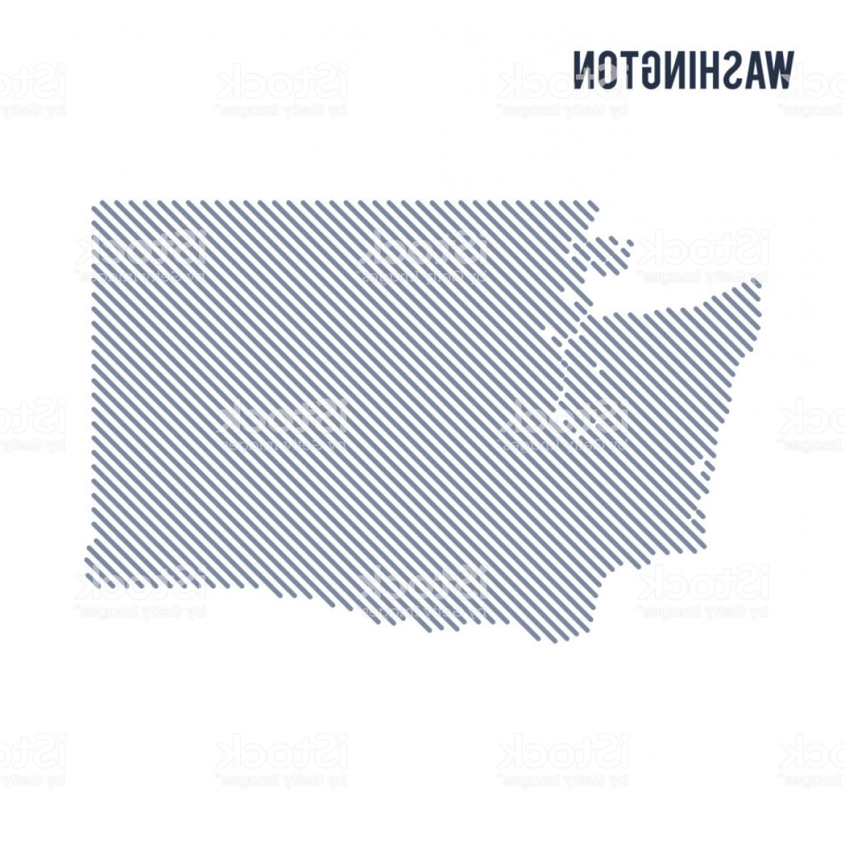 Washington State Vector: Vector Abstract Hatched Map Of State Of Washington With Oblique Lines Isolated On A Gm