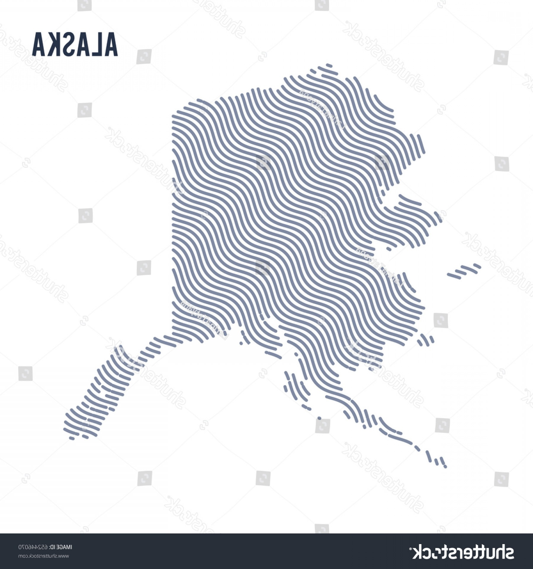 Alaska State White Background Vectors: Vector Abstract Wave Map State Alaska