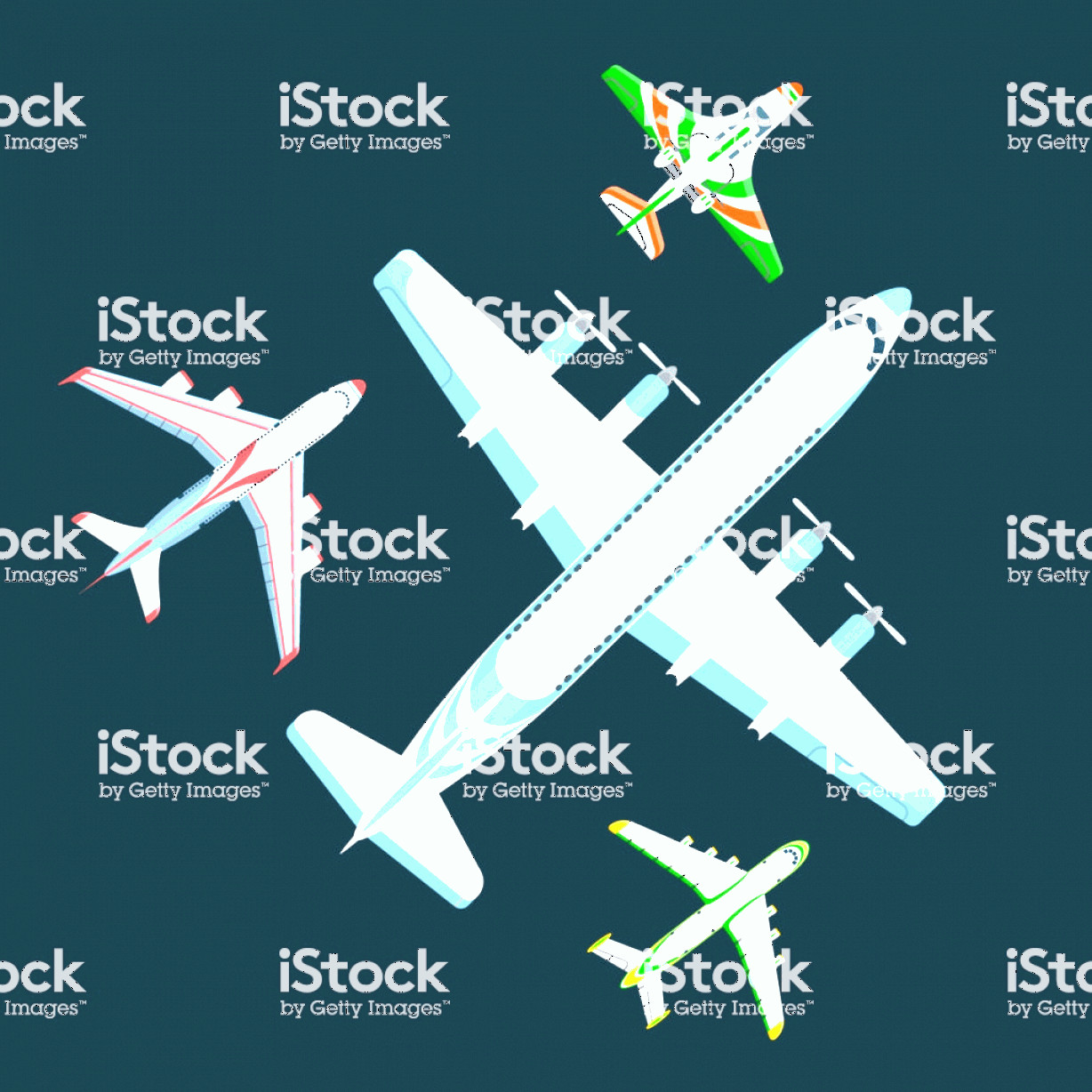 Aviation Vector Designs: Vector Airplane Illustration Top View And Aircraft Transportation Travel Way Design Gm