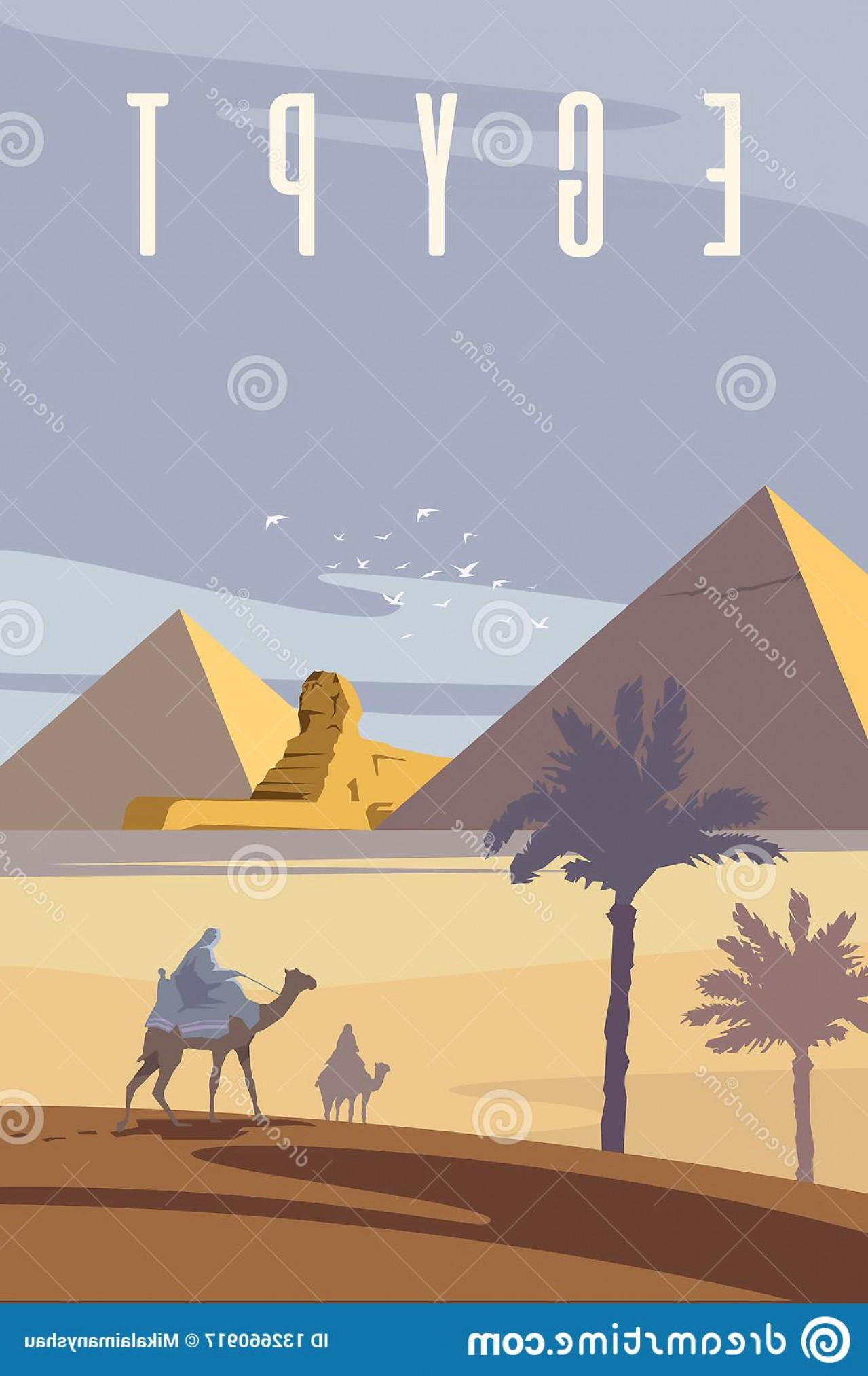 Piramids Vector Art: Vector Art Deco Retro Poster Egyptian Pyramids Sahara Desert Two Men Riding Camels Image