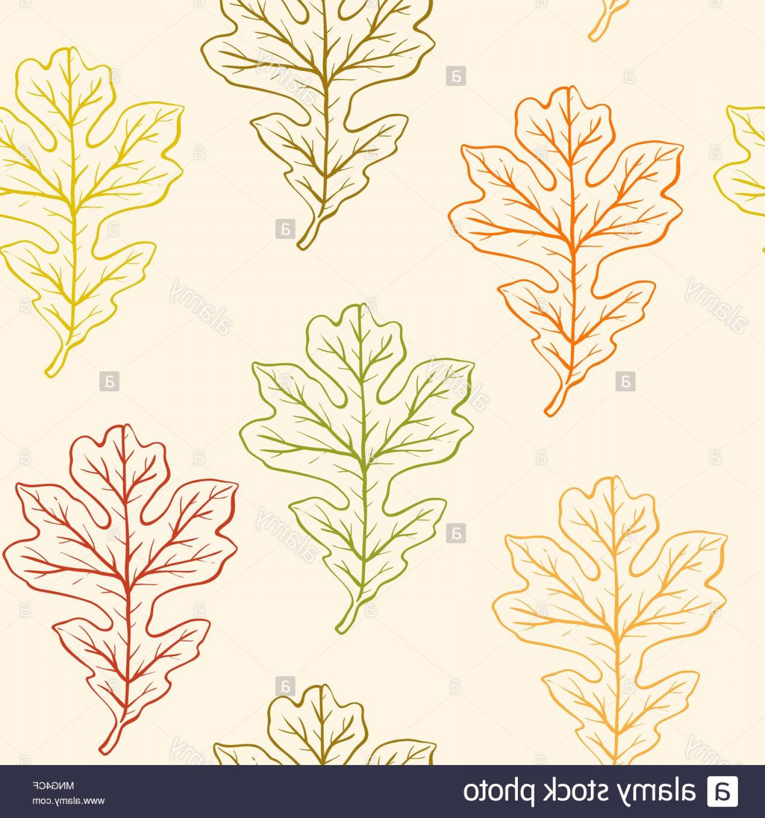 Autumn Seamless Vector: Vector Autumn Seamless Pattern With Oak Leaves Image