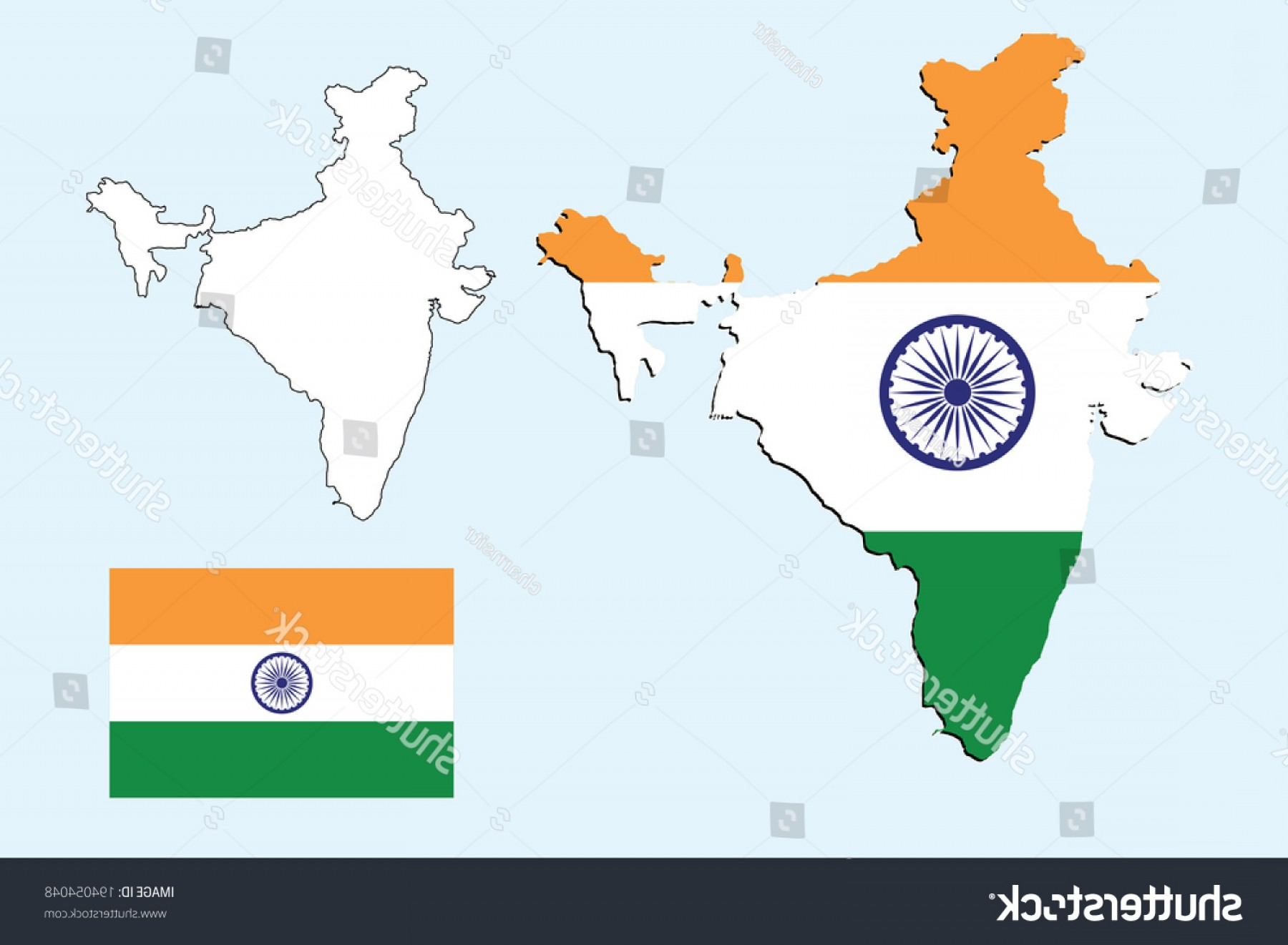 Vector Travel APS: Vector Background India Map Flag