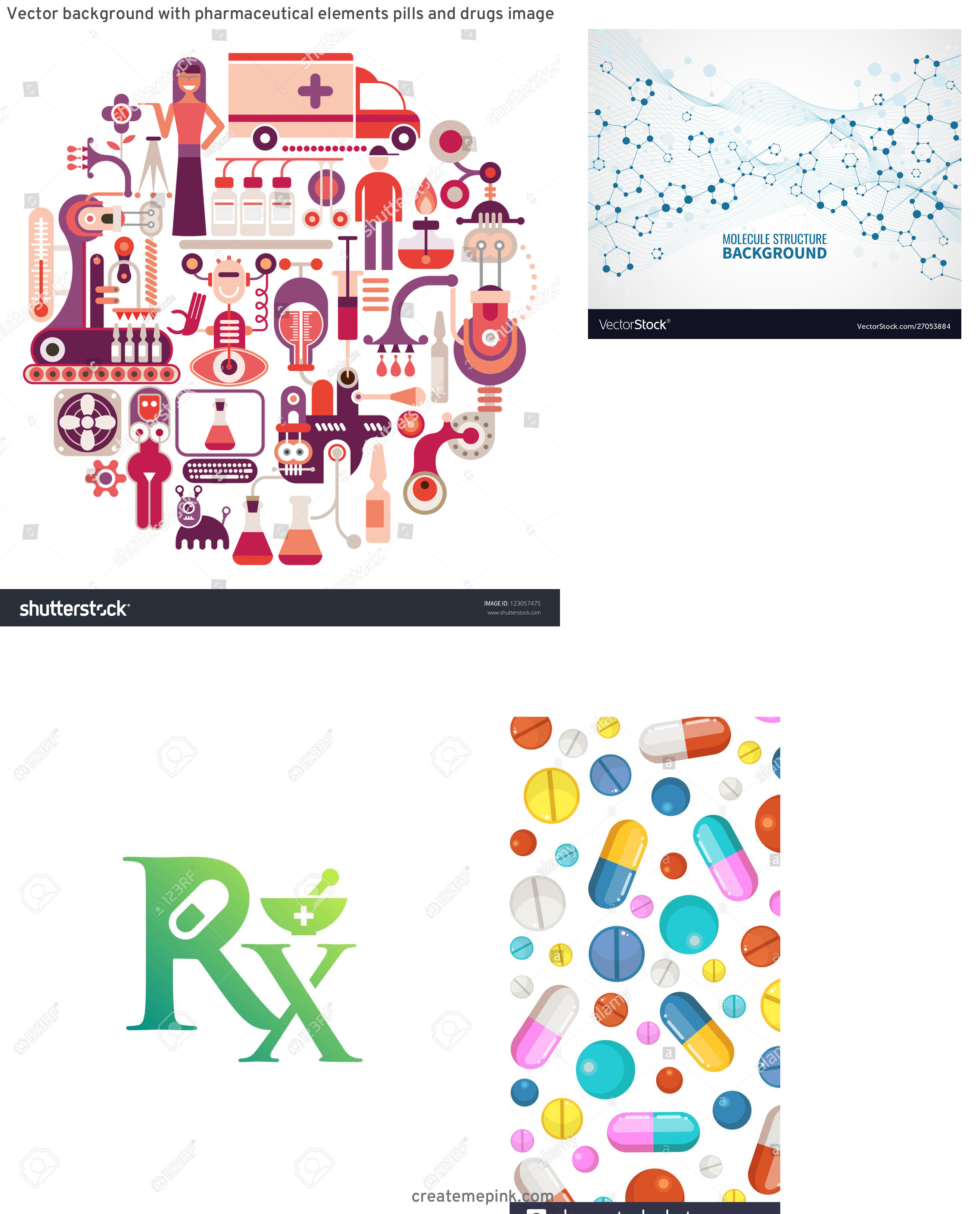 Vector Pharmaceutical: Vector Background With Pharmaceutical Elements Pills And Drugs Image