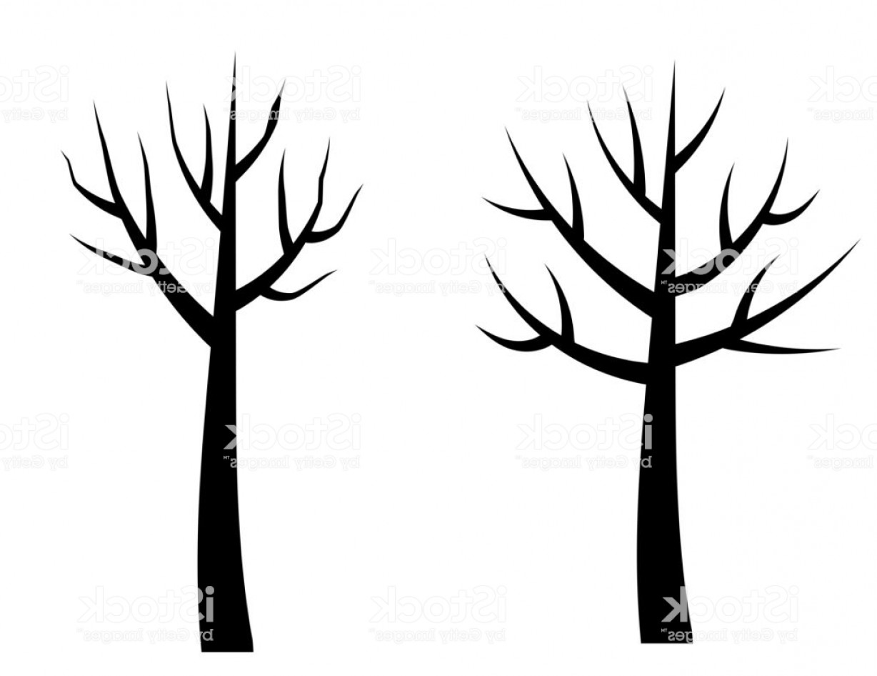 Contoon Free Black Vector Tree: Vector Bare Tree Silhouettes Black Stylized Trees Without Leaves No Leaves Cartoon Gm