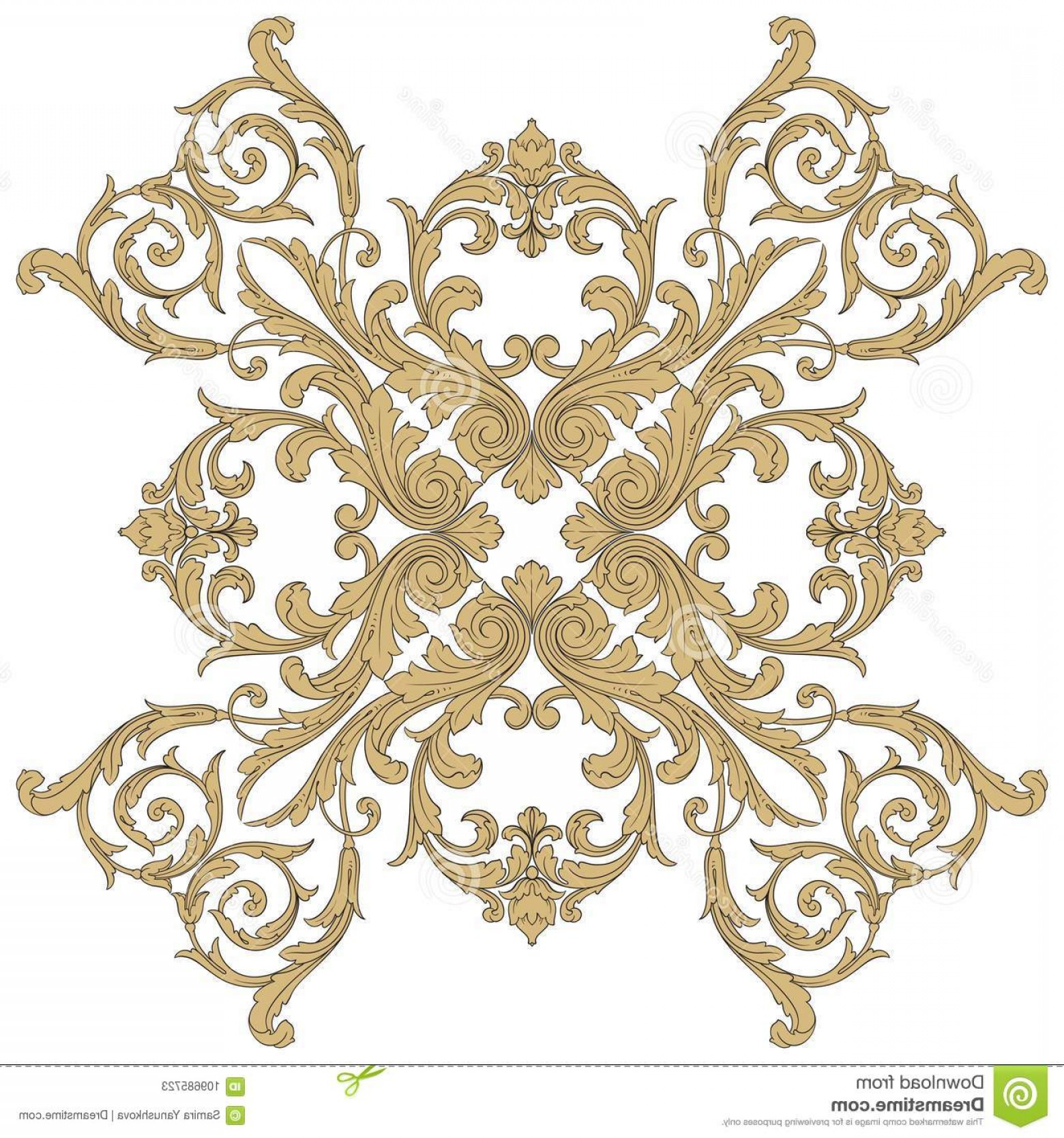 Victorian Motif Vector: Vector Baroque Ornament Victorian Style Vintage Frame Scroll Engraving Border Floral Retro Pattern Antique Acanthus Foliage Image