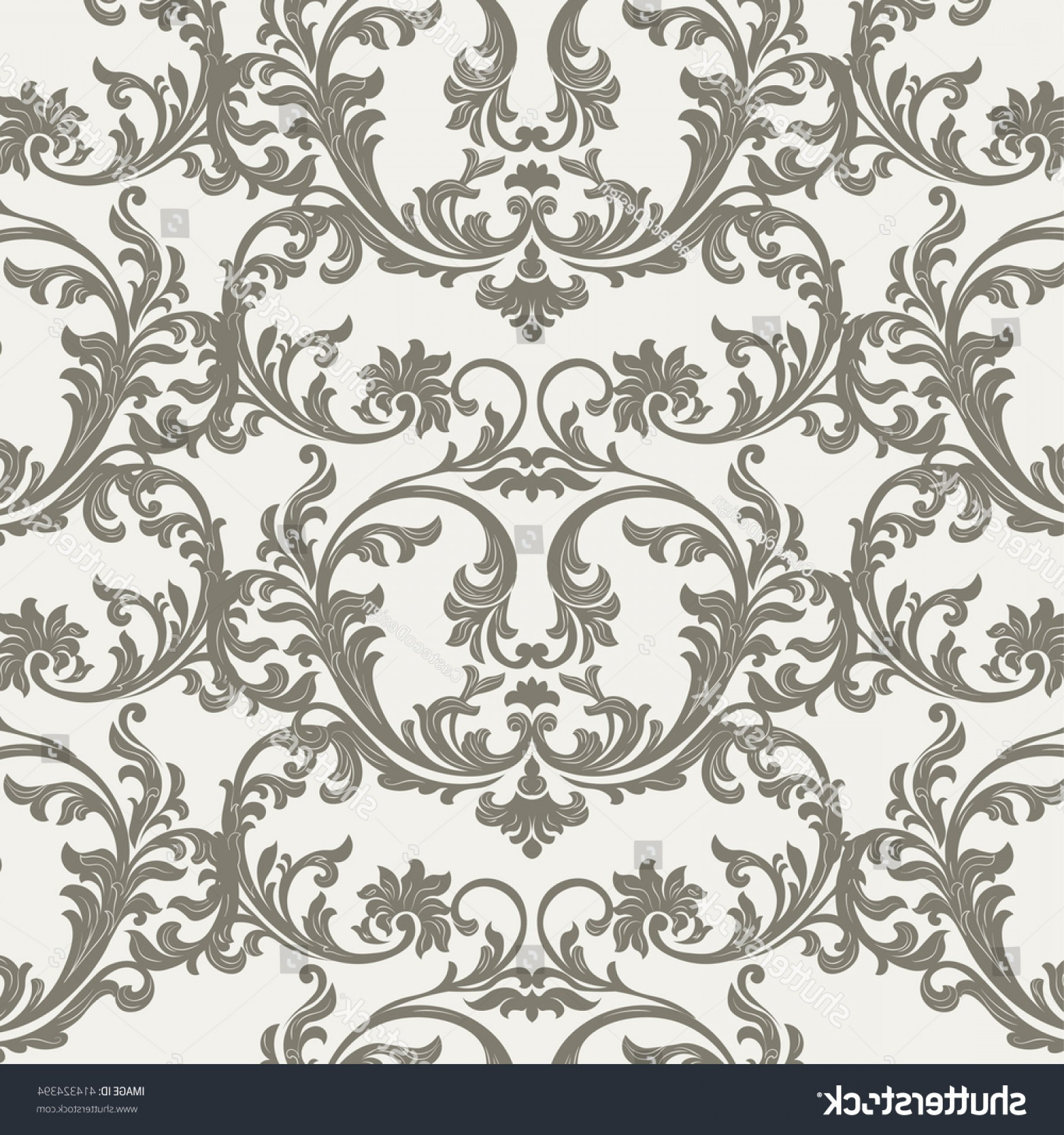 Damask Background Vector Art: Vector Baroque Vintage Floral Damask Pattern