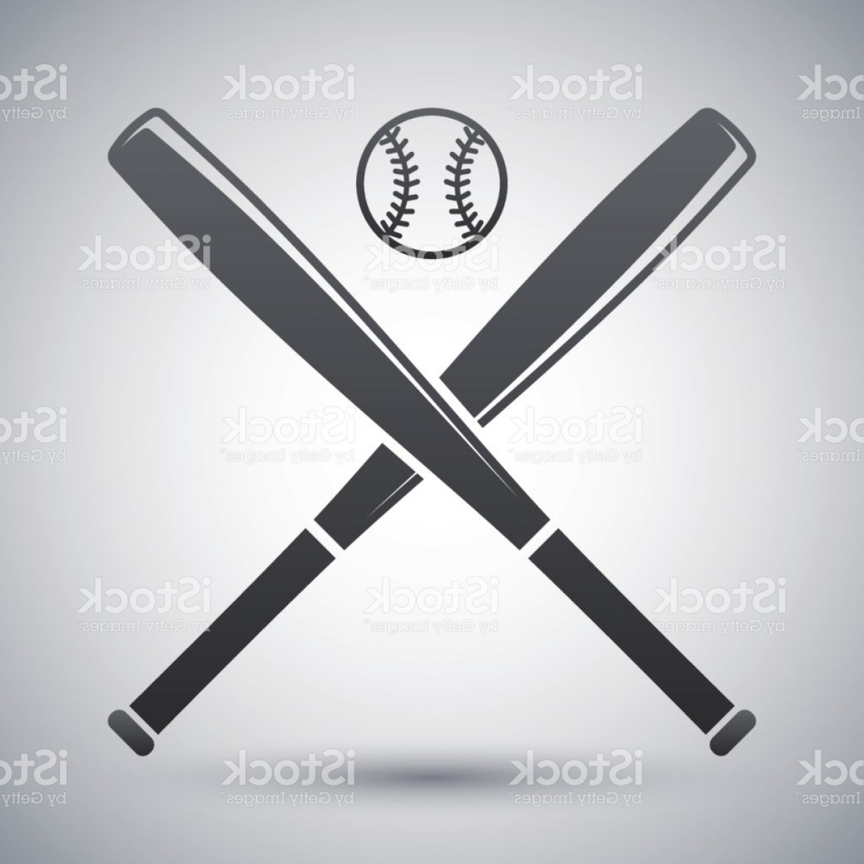 Vector Baseball Cross: Vector Baseball Bats And Ball Icon Gm