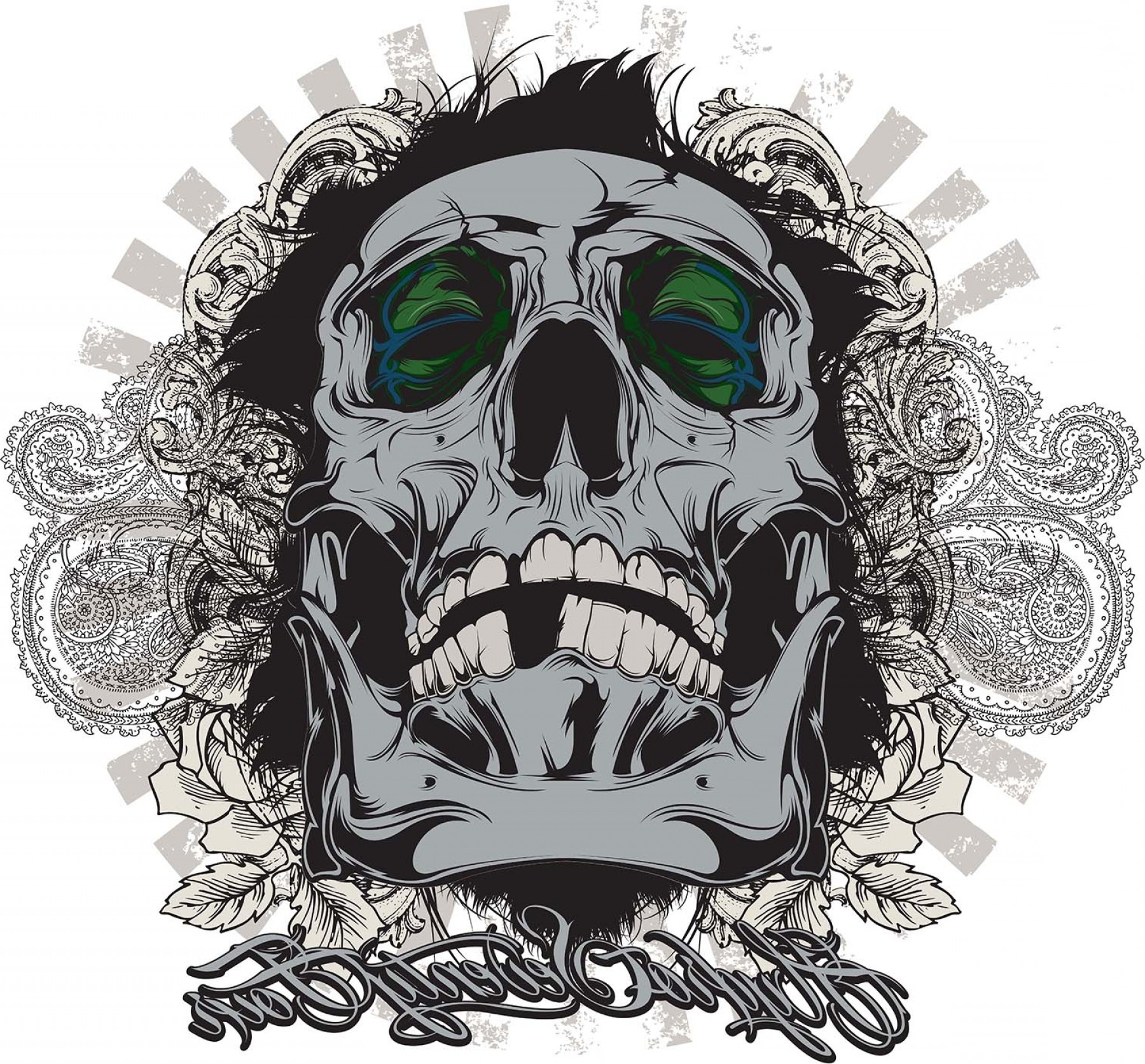 Cool Skull Vector: Vector Based T Shirt Graphic Design