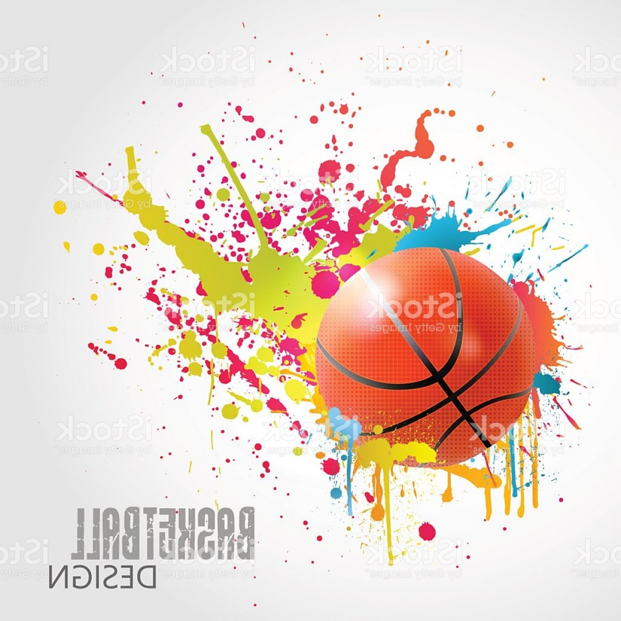 Basketball Vector Graphic Designs: Vector Basketball Design With Ball And Colorful Splashes Gm