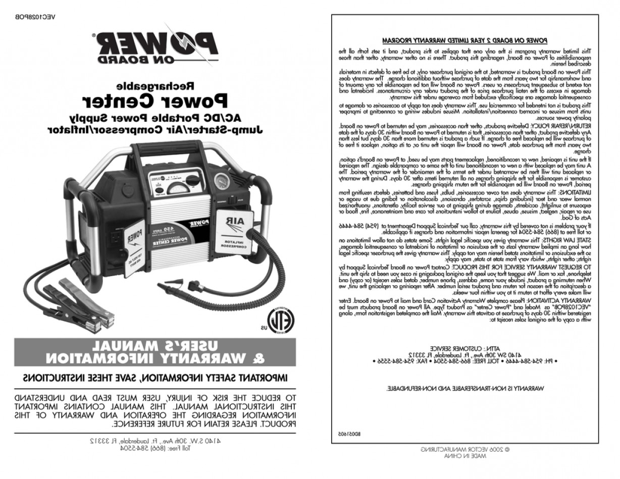 Vector Power On Board Compressor: Vector Bd Power Supply User Manual